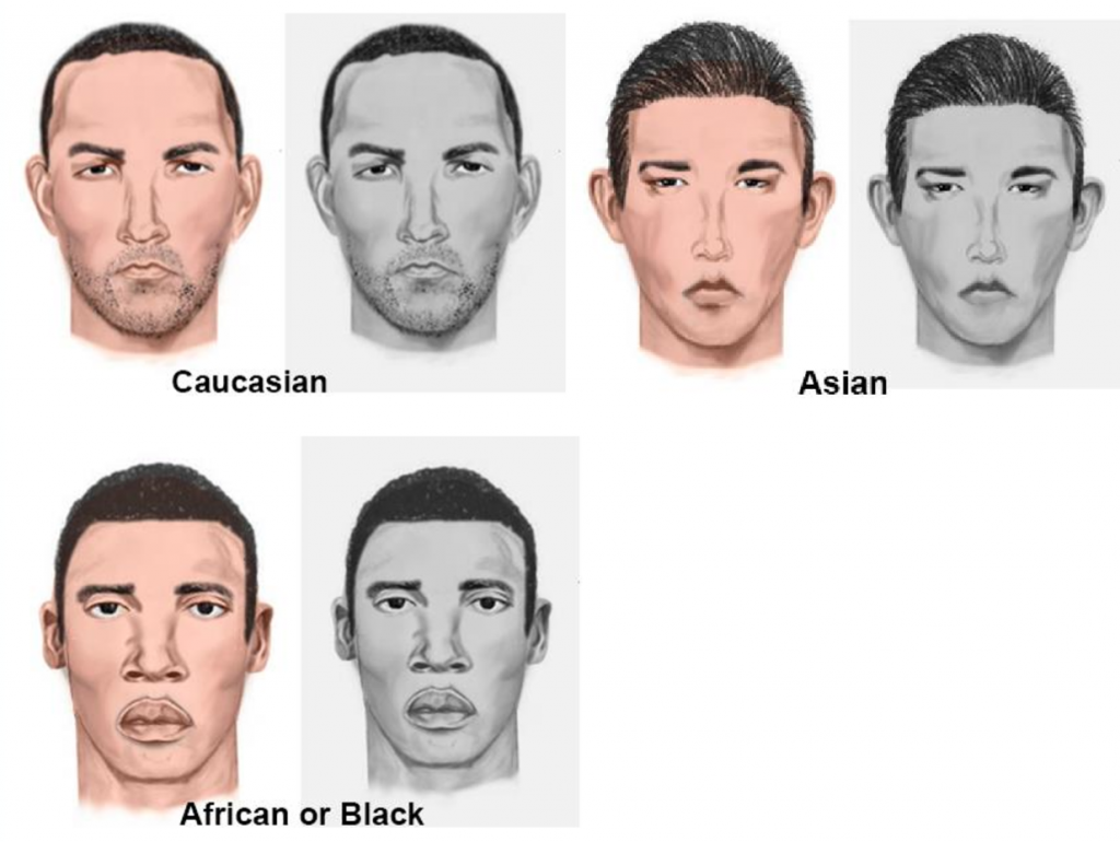 Examples of suspect composites created with SketchCop® Facial Composite System Software.